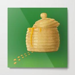 Dip Into The Honey Jar - Green Painting Metal Print