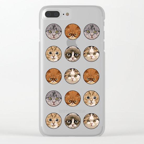 Polka Meaw Clear iPhone Case