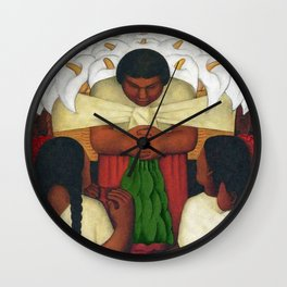 Calla Lilies in white Flower Vendor at the Flower Festival floral portrait painting by Diego Rivera Wall Clock