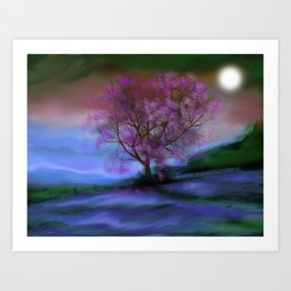 Tree in Moonlight Art Print