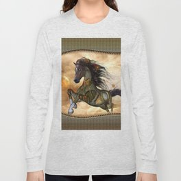 Steampunk, awesome steampunk horse Long Sleeve T-shirt