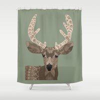 antlers Shower Curtains featuring Antlers by ArtLovePassion