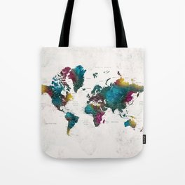Watercolor world map with cities, Charleena Tote Bag