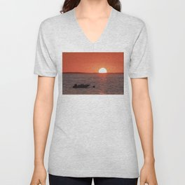 Plum Cove Beach Sunset 7-11-18 Unisex V-Neck