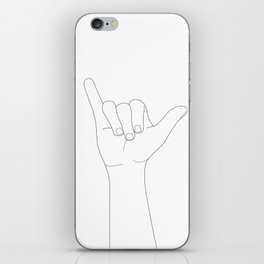 Minimal Line Art Shaka Hand Gesture iPhone Skin