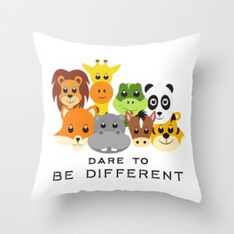 Dare to Be Different Gang of Animals Throw Pillow