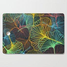 Ginkgo Biloba Leaves in Retro Rainbow Cutting Board
