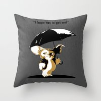 gizmo Throw Pillows featuring Gizmo by The Black Lodge
