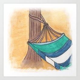 Just Swaying Away-Watercolor Hammock Design Art Print