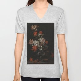 Jacob Campo Weyerman - Bouquet of flowers with roses, passion flower and bindweed - 1700-1720 Unisex V-Neck