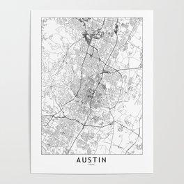 Austin White Map Poster