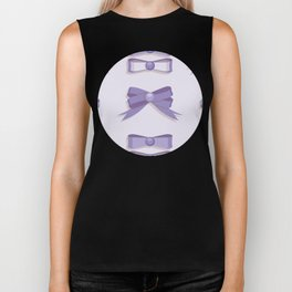 Girly purple bow seamless vector pattern Biker Tank