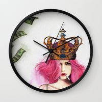 queen Wall Clocks featuring Queen Bitch by Jenny Liz Rome