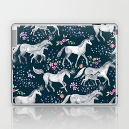 Unicorns and Stars on Dark Teal Laptop & iPad Skin