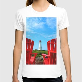 Lighthouse and chairs in Red White and Blue T-shirt