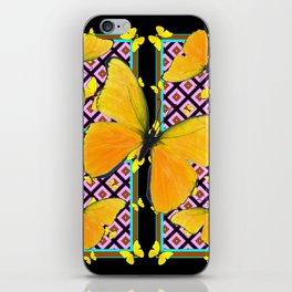 Golden Yellow Butterflies Pattern On Black iPhone Skin