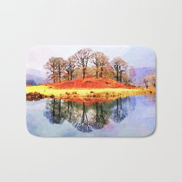 Winter trees Reflected in Lake Windermere, Lake District, UK. Watercolour Painting. Bath Mat