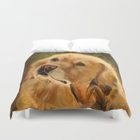 golden retriever Duvet Covers featuring Golden Retriever by Tidwell