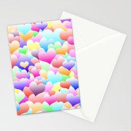 Bubble Hearts Light Stationery Cards