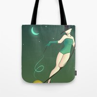 witch Tote Bags featuring Witch by Stapanda