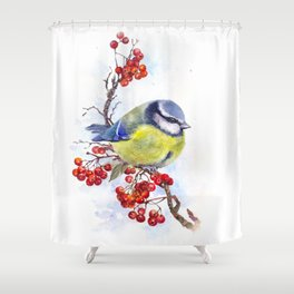 Watercolor Titmouse Great tit winter bird Shower Curtain