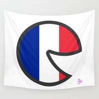 france Wall Tapestries featuring France Smile by onejyoo