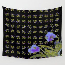Atom Flowers #34 in purple and green Wall Tapestry