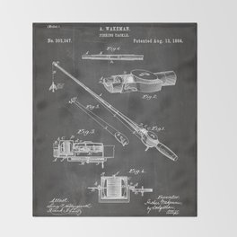 Fishing Rod Patent - Fishing Art - Black Chalkboard Throw Blanket
