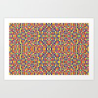 morrocan Art Prints featuring Rainbow Mosaic Pixels by 2sweet4words Designs