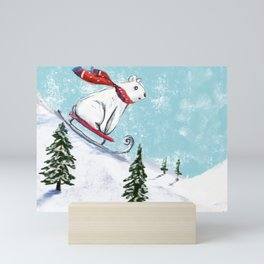 Sledding bear Mini Art Print