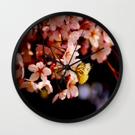 Yellow Butterfly Kissing Pink Cherry Blossom Wall Clock