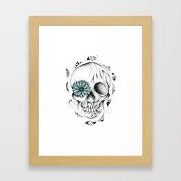 Poetic Wooden Skull Framed Art Print