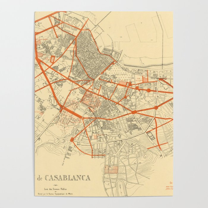 Vintage Map of Casablanca Morocco (1917) Poster by vuramedia on marrakech map, potsdam map, damascus map, africa map, lima map, algiers map, salerno map, timbuktu map, oran map, algeria map, morocco map, western sahara map, key largo map, cape town map, accra map, johannesburg map, dar es salaam map, tripoli map, dubai map, marrakesh map,