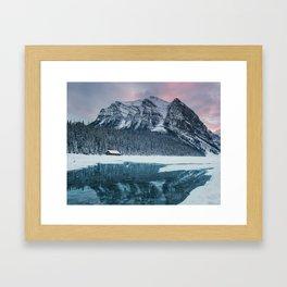 Sunset at Lake Louise Framed Art Print
