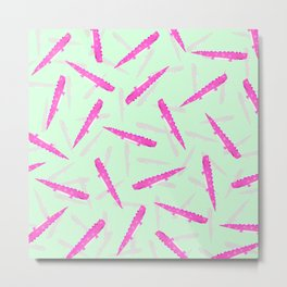 Modern neon pink green girly cute funny alligator pattern Metal Print