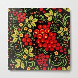 Red berry ornament khokhloma Metal Print