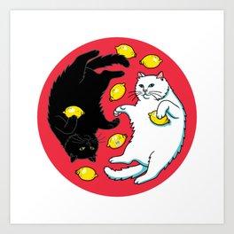 Ying Yang Black And White Cats With Lemons Art Print