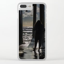 Threesome at the pier Clear iPhone Case