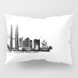 Kuala Lumpur skyline black Pillow Sham
