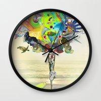 archan nair Wall Clocks featuring Aurantiaca by Archan Nair