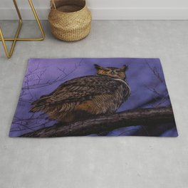 Great Horned Owl Lurking Late Rug