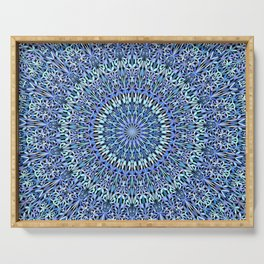 Blue Garden of Life Mandala Serving Tray