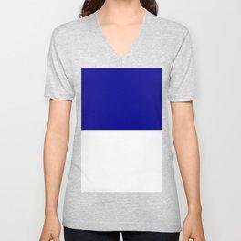 White and Dark Blue Horizontal Halves Unisex V-Neck