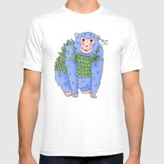 Peachtree The Chimp in Blue Mens Fitted Tee White MEDIUM
