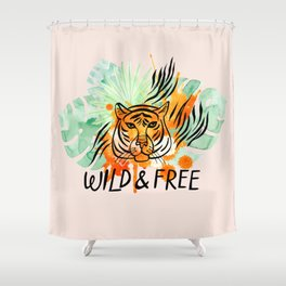 Wild and Free Tiger Shower Curtain