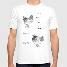 Jealous Chicken (1) SMALL White Mens Fitted Tee