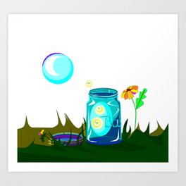 A Jar of Fireflies, also known as Lightening Bugs Art Print