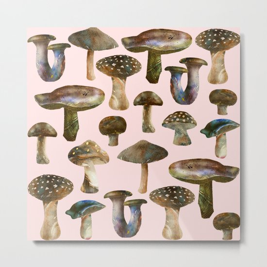 Mushrooms Pink Metal Print
