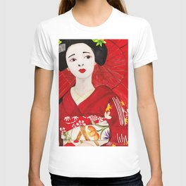 Red Japanese lady T-shirt