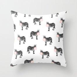 Zebra, Bubble gum, Minimal, Scandinavian, Abstract, Pattern, Modern art Throw Pillow